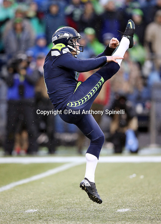 Seattle Seahawks punter Jon Ryan (9) punts during the 2015 NFL week 16 regular season football game against the St. Louis Rams on Sunday, Dec. 27, 2015 in Seattle. The Rams won the game 23-17. (©Paul Anthony Spinelli)