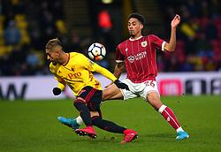 Zak Vyner of Bristol City tackles Roberto Pereyra of Watford - Mandatory by-line: Robbie Stephenson/JMP - 06/01/2018 - FOOTBALL - Vicarage Road - Watford, England - Watford v Bristol City - Emirates FA Cup third round proper