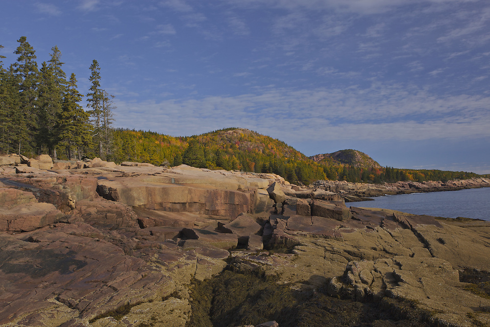 The rugged shoreline highlights the drive along Park Loop Road in Acadia National Park, Maine. In the distance, fall colors brighten Gorham Mountain (525 ft.) and The Beehive (520 ft.).