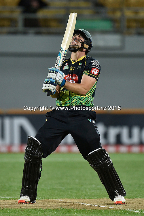 George Worker of the Stags reacts to a shot that was nearly caught during the Georgie Pie Super Smash T20 cricket match - Central v Auckland on Wednesday, 11 November 2015 at Yarrow Stadium, New Plymouth. Copyright Photo: Marty Melville  / www.photosport.nz