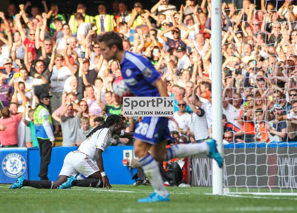 Bafitembi Gomis does his trademark celebration in front of the swansea fans as Cesar Azpilicueta runs off with the ball after conceding During Chelsea vs Swansea on the 8th August 2015.
