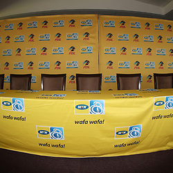 All set up during the MTN8 semi-final 2nd-leg Press Conference with the Head Coach and Selected players United,Harry Gwala Stadium in  Pietermaritzburg. 7th September -2017 (Photo by Steve Haag)