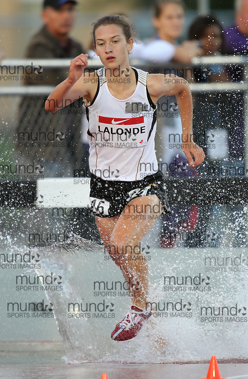 (Moncton,  New Brunswick) --- .Genevieve Lalonde-2000mSteepleChase004_0710CA.jpg at the 2010 Canadian Junior Track and Field championships in Moncton, New Brunswick July 04 ,  2010)... Photograph copyright Claus Andersen / Mundo Sport Images, 2010.