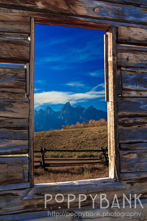 The classic frame within a frame photo of the Grand Teton mountains through the window of an abandoned farm house near Kelly, Wyoming.