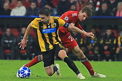 07.11.2018, Champions League, FC Bayern vs AEK Athen, Allianz Arena  Muenchen,  Fussball, Sport, im Bild:..Andre Simoes ( AEK Athen ) vs Thomas Mueller (FCB)...DFL REGULATIONS PROHIBIT ANY USE OF PHOTOGRAPHS AS IMAGE SEQUENCES AND / OR QUASI VIDEO...Copyright: Philippe Ruiz..Tel: 089 745 82 22.Handy: 0177 29 39 408.e-Mail: philippe_ruiz@gmx.de. (Credit Image: © Philippe Ruiz/Xinhua via ZUMA Wire)