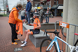 Roxanne Knetemann (NED) of Team NL reaches for a recover drink after finishing Stage 3 of the Healthy Ageing Tour - a 154.4 km road race, between  Musselkanaal and Stadskanaal on April 7, 2017, in Groeningen, Netherlands.
