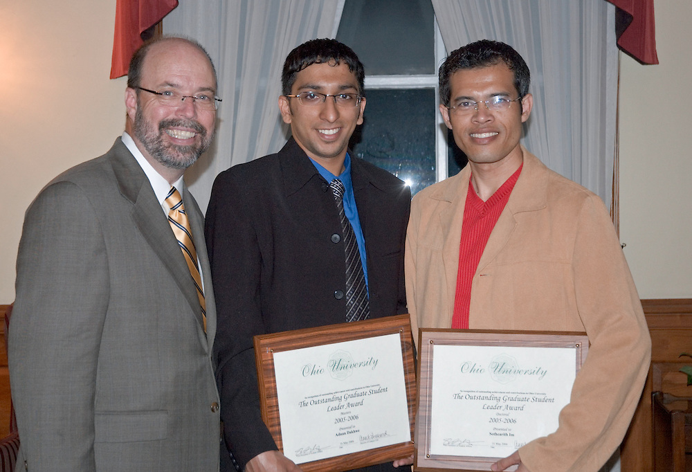 17705Student Leadership Recognition awards Ceremony at Baker Center: Photos Rebecca Grosenbaugh..Outstanding Graduate Student Leadersleft to right: Terry Hogan, Adnan Dakhwe, Sothearith Im