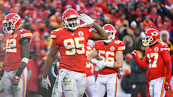 Jan 19, 2020; Kansas City, Missouri, USA; Kansas City Chiefs defensive end Chris Jones (95) celebrates after a play during the game against the Tennessee Titans at Arrowhead Stadium. Mandatory Credit: Denny Medley-USA TODAY Sports