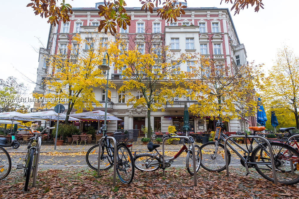 Bicycles parked at Rykestrasse in bohemian Prenzlauer Berg in Berlin Germany