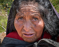 TAQUILE ISLAND, PERU - CIRCA APRIL 2014: Portrait of old woman from Taquile Island in Peru