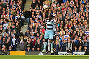 Queens Park Rangers Idriss Sylla (40) rises to the challenge during the EFL Sky Bet Championship match between Fulham and Queens Park Rangers at Craven Cottage, London, England on 1 October 2016. Photo by Jon Bromley.