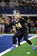 New Orleans Saints defensive end Cameron Jordan (94) celebrates at the goal line after making a second quarter sack for a loss of one yard at the Dallas Cowboys 5 yard line during the NFL week 13 regular season football game against the Dallas Cowboys on Thursday, Nov. 29, 2018 in Arlington, Tex. The Cowboys won the game 13-10. (©Paul Anthony Spinelli)