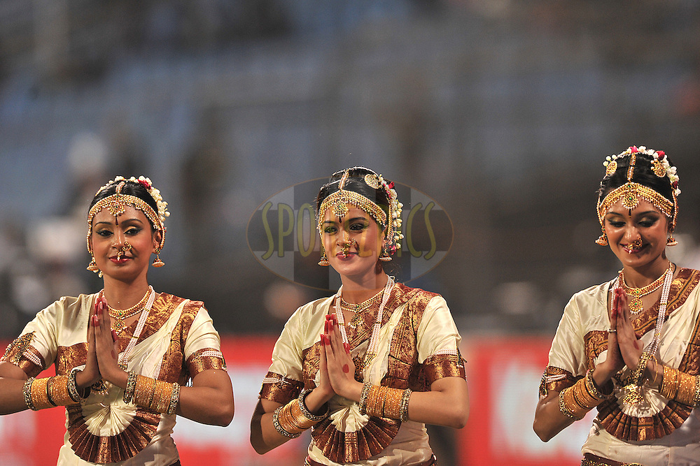 Cheer leaders of Pune Warriors India, traditionally dressed enter the ground  during  match 10 of the Indian Premier League ( IPL ) Season 4 between the Pune Warriors and the Kochi Tuskers Kerala held at the Dr DY Patil Sports Academy, Mumbai India on the 12th April 2011..Photo by Pal Pillai /BCCI/SPORTZPICS