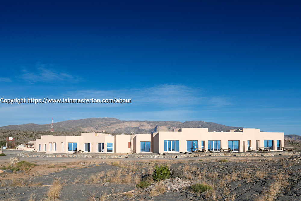 View of low rise hotel accomodation at Jebel Shams Resort hotel on Jebel Shams mountain in Oman