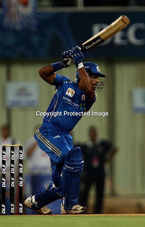 Mumbai Indians Batsman Shikhar Dhawan Hit The Shot Against Deccan Chargers During The Deccan Chargers vs Mumbai Indians, 25th Twenty20 match Indian Premier League- 2009/10 season Played at Dr DY Patil Sports Academy, Mumbai 28 March 2010 - day/night (20-over match)