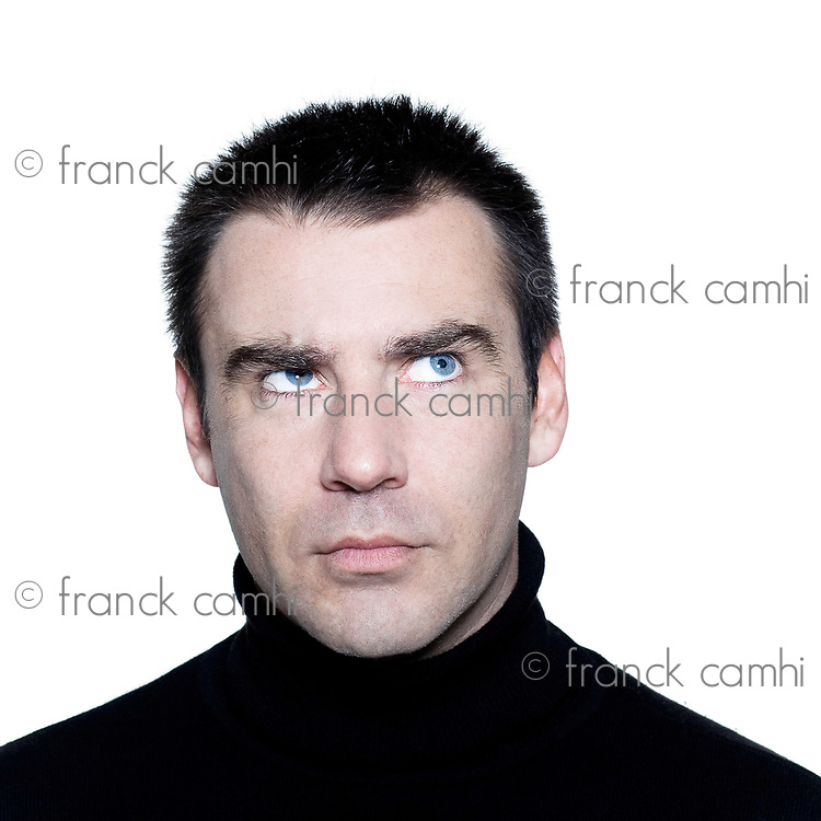 caucasian man portrait  thinking pensive doubt mistrust distrust looking up portrait on studio isolated white background