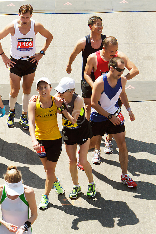 Abby and Joan Samuelson, mother and daughter, after finishing Boston Marathon together