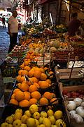 Fruit stall in Piazza Caracciolo, Vicolo Mezzani, Palermo, Italy.