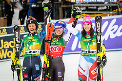 SWENN LARSSON Anna of Sweden, SHIFFRIN Mikaela of USA and HOLDENER Wendy of Switzerland celebrate after the 6th Ladies' Slalom at 55th Golden Fox - Maribor of Audi FIS Ski World Cup 2018/19, on February 2, 2019 in Pohorje, Maribor, Slovenia. Photo by Blaž Weindorfer / Sportida