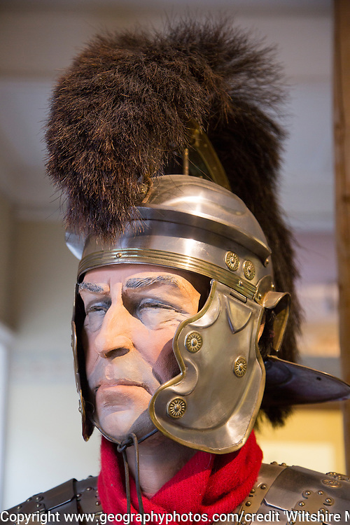 Roman soldier mannequin model wearing. helmet. With permission of Wiltshire Museum, Devizes, England, UK.