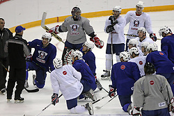 Coach Mats Waltin and hockey players at practice of Slovenian national team before Hockey IIHF WC 2008 in Halifax,  on May 01, 2008 in Metro Center, Halifax, Canada.  (Photo by Vid Ponikvar / Sportal Images)