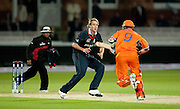 Edgar Schiferli runs past bowler Stuart Broad during the opening ICC World Twenty20 Cup match between England and Netherlands at Lord's. Photo © Graham Morris (Tel: +44(0)20 8969 4192 Email: sales@cricketpix.com)