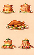Game and poultry dishes garnished ready for serving.  Chromolithograph from 'Cassell's Book of the Household' (London, c1895).