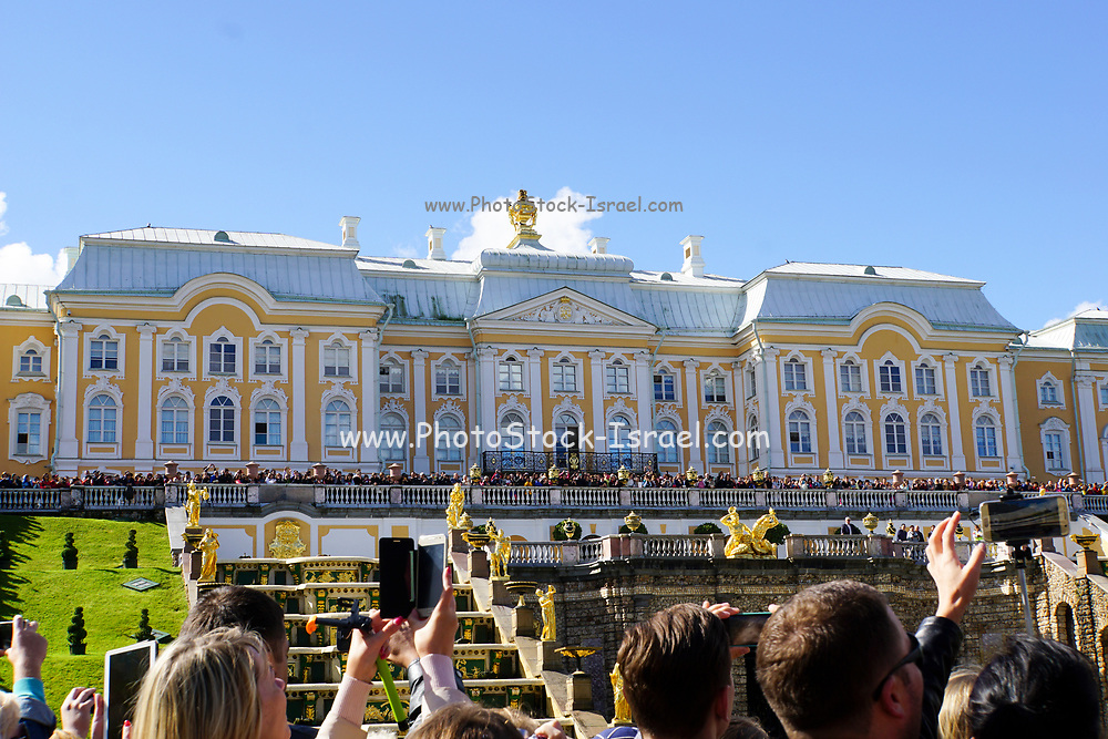 Peterhof Palace Grand Cascade with fountains and gardens in summer located near Saint Petersburg,