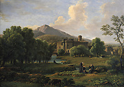 View of the Abbey of Grottaferrata near Rome', 1844. John Joseph Xavier Bidault (1758-1846) French painter. Bidault spent many years in Italy painting 'tourist' landscpaes.  The Abbey of St Mary of Grottoferrata was founded by St Nilus in 1004.