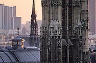 France. Paris elevated view on Paris cityscape at dusk ,