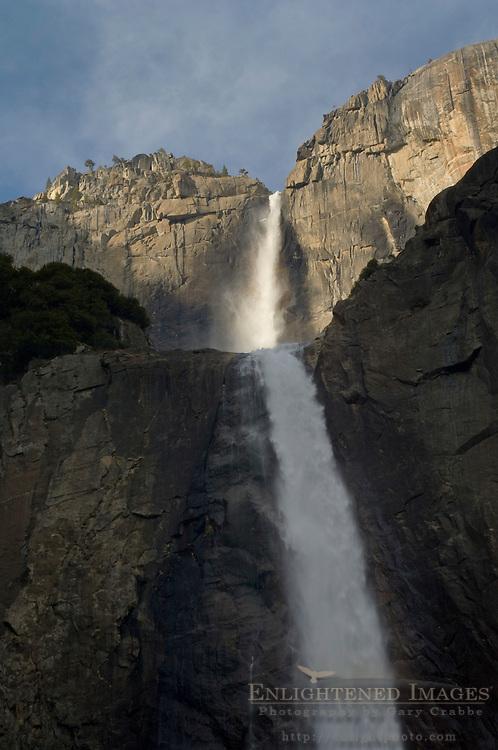 Looking up toward Upper Yosemite Falls from Lower Yosemite Falls, Yosemite Valley, Yosemite National Park, California
