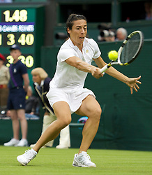 LONDON, ENGLAND - Monday, June 20, 2011: Francesca Schiavone (ITA) in action during the Ladies' Singles 1st Round match on day one of the Wimbledon Lawn Tennis Championships at the All England Lawn Tennis and Croquet Club. (Pic by David Rawcliffe/Propaganda)