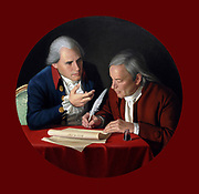 The Connecticut Compromise'  2006. Bradley Stevens American painter.  Roger Sherman and Oliver Ellsworth in 1787 drafting The Great (or Connecticut) Compromise, a plan for representation in Congress.   America USA Constitution