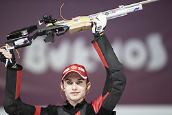 BUENOS AIRES, Oct. 8, 2018  Grigorii Shamakov of Russia celebrates after the Men's 10m Air Rifle Final at the 2018 Summer Youth Olympic Games in Buenos Aires, capital of Argentina, Oct. 7, 2018.  Grigorii Shamakov won the first gold of the games with 249.2 points. (Credit Image: © Li Ming/Xinhua via ZUMA Wire)