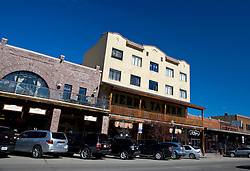 Street view of Sierra Hotel and shops, Truckee, California, United States of America