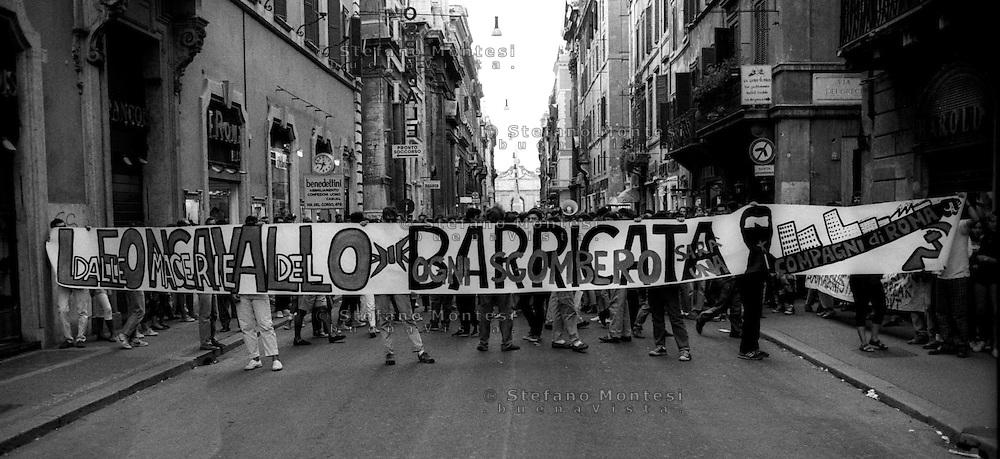 Roma Agosto  1989.Manifestazione  in difesa del Centro Sociale Leoncavallo a Roma in via del Corso.