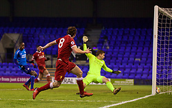 BIRKENHEAD, ENGLAND - Tuesday, December 19, 2017: Liverpool's Matthew Virtue scores the third goal during the Under-23 FA Premier League International Cup Group A match between Liverpool and PSV Eindhoven at Prenton Park. (Pic by David Rawcliffe/Propaganda)