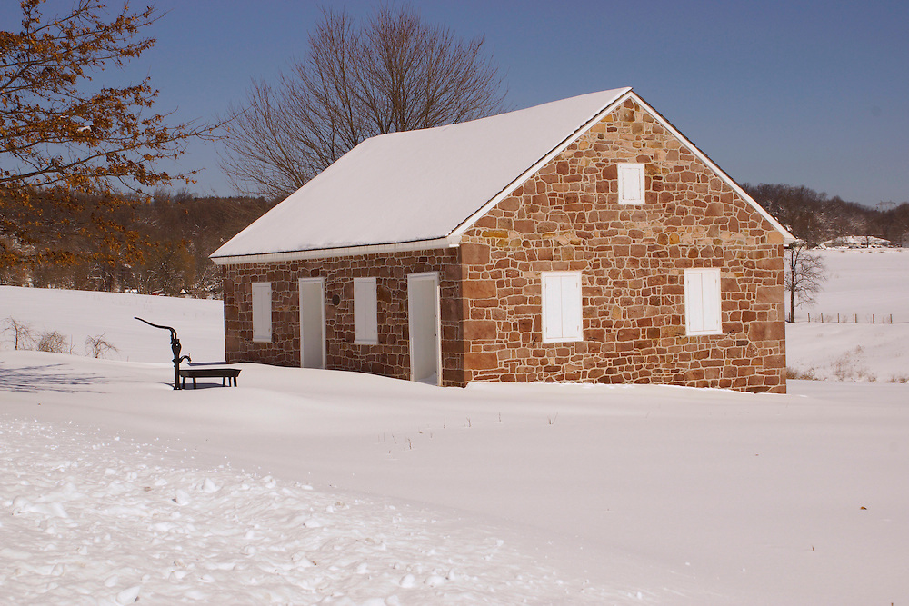 Winter Snow,  Alleghany Mennonite Meetinghouse, 39 Horning Road, Brecknock Township, Berks County, Pennsylvania.