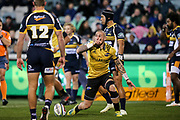 TJ Perenara celebrates his try during the Super Rugby match, Brumbies V Hurricanes, GIO Stadium, Canberra, Australia, 30th June 2018.Copyright photo: David Neilson / www.photosport.nz