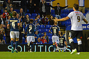 Stephen Gleeson celebrates scoring first goal during the Sky Bet Championship match between Birmingham City and Derby County at St Andrews, Birmingham, England on 21 August 2015. Photo by Alan Franklin.