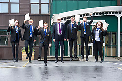 Pictured: Mr Swinney celebrates with the students<br /> <br /> Education Secretary  John Swinney visited Firrhill School today and met students and parents as the results wer available for opening.<br /> <br /> <br /> Ger Harley | EEm 7 August 2018