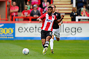 Luke Croll (23) of Exeter City on the attack during the EFL Sky Bet League 2 match between Exeter City and Lincoln City at St James' Park, Exeter, England on 19 August 2017. Photo by Graham Hunt.