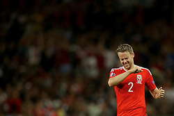 TOULOUSE, FRANCE - Monday, June 20, 2016: Wales Chris Gunter celebrates his side's 3-0 victory over Russia and qualification for the knock-out stage during the final Group B UEFA Euro 2016 Championship match at Stadium de Toulouse. (Pic by David Rawcliffe/Propaganda)