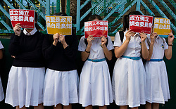 Wanchai, Hong Kong. 26 September, 2019. Human chain formed by students from local secondary schools in Hong Kong to support the pro democracy movement and anti-extradition bill. One of many planned demonstrations in run up to 70th anniversary of founding of PRC on 1 Oct 2019.