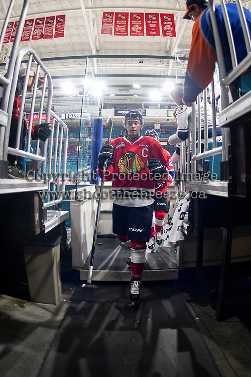 KAMLOOPS, CANADA - NOVEMBER 5:  Cody Glass #8 of Team WHL (Portland Winterhawks) exits the ice after warm up against the Team Russia on November 5, 2018 at Sandman Centre in Kamloops, British Columbia, Canada.  (Photo by Marissa Baecker/Shoot the Breeze)