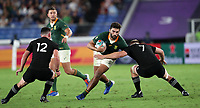 Rugby Union - 2019 Rugby World Cup - Pool B: New Zealand vs. South Africa<br /> <br /> Damian de Allende of South Africa and Sam Cane of New Zealand at the International Stadium Yokohama, Yokohama City.<br /> <br /> COLORSPORT/LYNNE CAMERON