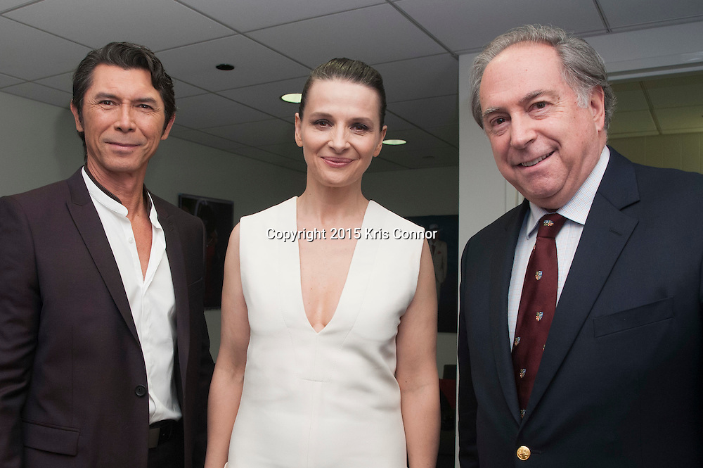 WASHINGTON, DC- OCTOBER 27: Actors Lou Diamond Phillips and Juliette Binoche with Chilean Ambassador Juan Gabriel Valdes attend the DC premiere of Warner Bros Pictures THE 33 at the Newsuem on October 27, 2015 in Washington, DC. (Photo by Kris Connor/Warner Bros. Pictures)