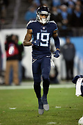 Tennessee Titans wide receiver Tajae Sharpe (19) goes in motion during the week 14 regular season NFL football game against the Jacksonville Jaguars on Thursday, Dec. 6, 2018 in Nashville, Tenn. The Titans won the game 30-9. (©Paul Anthony Spinelli)