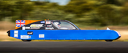 © Licensed to London News Pictures. 21/09/2019. York UK. Neil Gilfillan tests the Mission 100 streamliner vehicle at Elvington Airfield in Yorkshire this morning. The Mission 100 project has the aim of designing and building of a record breaking 'streamliner' on the tightest of budgets. It has a 'tiny' 100cc engine & has the goal of setting various British speed records with minimal a investment, using many recycled parts and a lot of technical know how and skills contributed for free. Photo credit: Andrew McCaren/LNP