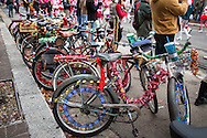 bicycles parked at  the sixth annual Krewe of Jingl New Orleans Christmas Parade. New Orleans has become one of the top tourist holiday destinations in the America.